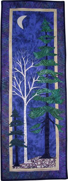 Birch Trees at Night by Cindy Nordlinger birches, birch tree, art quilt, night lights, quilts, quilting, cindi nordling, quilt art, cream