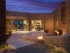 Desert home entry courtyard patio with fire & water...