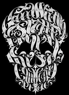 I've always loved this. Typographic skull with the seven deadly sins - Joby Cummings