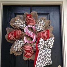 Chevron/Red/Silver & Red Monogram/Christmas Wreath by Tarandipity, $70.00