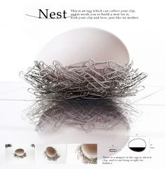 Paper Clip Egg: A magnetic egg that collects your paper clips in the form of a nest. Great design!