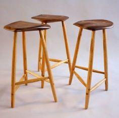 Three legged stools all based on the stools of Wharton Esherick. Made by Todd Fillingham