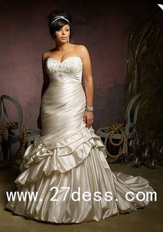 Sexy Mermaid plus size Wedding Dresses Sweetheart Applique beadings Dress from 27dress.com, #wedding #dress