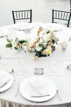 #tablescapes Photography by onelove-photo.com, Florals by http://www.thelittlebranch.com, Design by http://www.astunningaffair.com  Read more - http://www.stylemepretty.com/2013/09/17/santa-monica-wedding-from-onelove-photography/