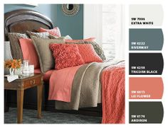 Navy and Coral Bedroom   For the color pallet, here is the chip-it picture, but I think I want ...