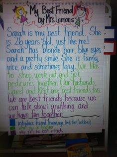 Modeling a Personal Narrative about a friend.  Great idea! I will use this real soon.