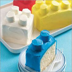 LEGO cakes using marshmallows. So creative for youngsters birthday.