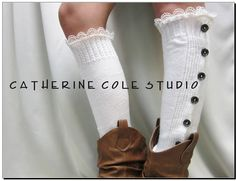 leg warmers Button down venise cream  lace edged  for women great with or without boots by Catherine Cole Studio lace legwarmers leg warmers. $29.90, via Etsy.
