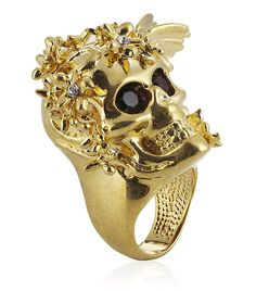 Alexander Mcqueen Gold Flower Skull Cocktail Ring - unique jewelry