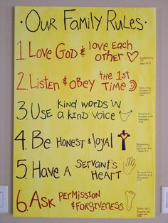 Family rules with bible verses that go with the rules. A great way to memorize scripture & have a family with great values :)