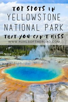 The top spots in Yellowstone National Park, Wyoming USA! Places you can't miss & the best things to do. Plus how to camp for free for a major budget saving tip. Don't miss Old Faithful, Lamar Valley, the Grand Canyon of Yellowstone, Grand Prismatic Spring and Mammoth Hot Springs. This ultimate trip itinerary will make your travel planning easy! #yellowstone #nationalpark #wyoming #usa #travel #trip #freecamp #geysers #oldfaithful #lamarvalley #grandprismaticsprings #mammothhotsprings #itinerary