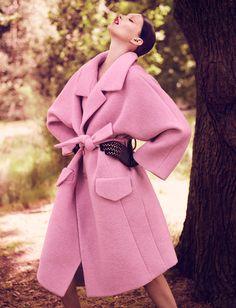 irina nikolaeva, fashion, exit magazin, winter style, pale pink, jen langkjaer, magazines, fur, trench coats