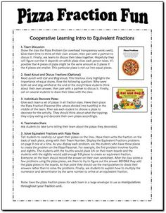 Free Pizza Fraction Fun lesson from Laura Candler for introducing students to equivalent fraction concepts - includes printables and directions