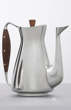 Søren Sass; Sterling Silver, Teak and Ivory Coffee Pot by A. Michelsen, 1954