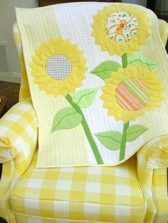 Flannel Baby Quilt Modern Applique