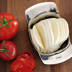 :) kitchen gadget, rösle tomatomozzarella, keys, tomatomozzarella slicer, williamssonoma, cooking tools, leaves, basil, tomatoes