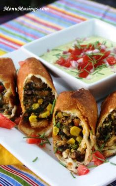 Southwestern Eggrolls with Avocado Ranch Dipping Sauce - these are fun to make and even MORE fun to eat!! Can't wait to try them!