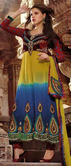 #Yellow and #Blue Faux Georgette #Anarkali Churidar Kameez @ $122.52