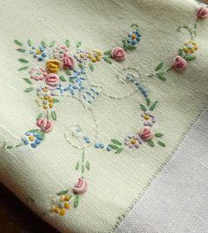 Lavender Embroidered Tea Towel  Vintage by backdoordeals on Etsy,