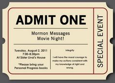 Ideas for YW: Mormon Messages Movie Night - Integrity Activity