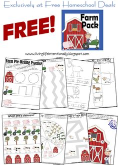 Free Instant Download: Farm Printable Pack (20-Pages) | Free Homeschool Deals ©