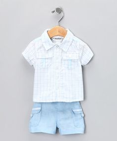 Take a look at this Blue Plaid Button-Up Shirt & Shorts by Calvin Klein on #zulily today!