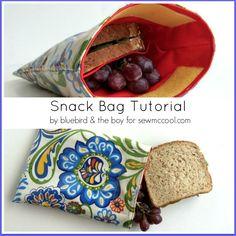Snack bag tutorial - sew a sandwich bag pocket! By bluebird & the boy on sewmccool.com