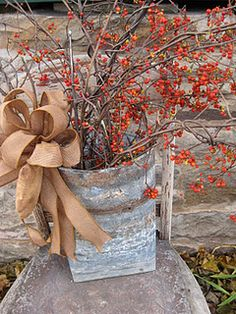 primit, craft, idea, thanksgiv, fall decor, season, autumn, bittersweet~, burlap ribbon