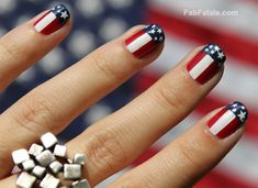 4th of July Nails American Flag Nail Art
