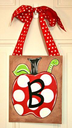 Personalized Teacher Gift Christmas Apple Polka Dot Painting Door Hanger Back to School