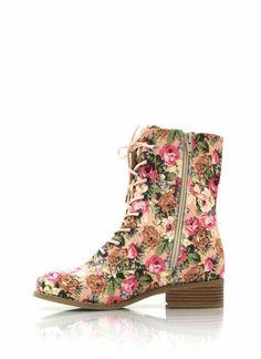 floral combat, combat boots