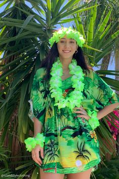 Ladies Green Sunset Floral Kaftan with Lei Set - soft and comfortable beach cover up. Throw this delightful caftan over your bikinis or jeans for a day at the beach, cruising or casual wear. Lots of colours and patterns to choose from. #poncho #kaftan #bikini #beachcoverup #caftan #plumeria #luau #luauparty #coverup #beachwear #cruise #cruisewear #luau #luauparty #luaupartycostume #fancydress #luaudress #hawaiiancostume