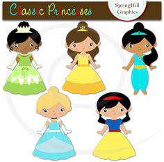 Instant Download Classic Princesses Digital Clip Art Web Design, Card Making, Scrapbooking - Personal and Commerical Use craft, web design, art web, clipart, clip art, princess parti, classic princess, art pictures, cards