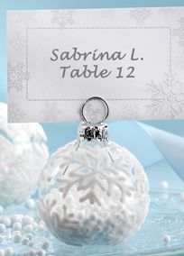 """Impressive winter wedding decorations? Charming winter wedding favors? However you choose to use them, the """"Snow Flurry"""" Holiday Ornament Place Card/Photo Holders will delight your guests with the spirit and beauty of the season! Style 27023NA #davidsbridal #placecards #weddings #winterweddings"""