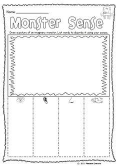This monster themed freebie reinforces your students' awareness of the 'Five Senses'.