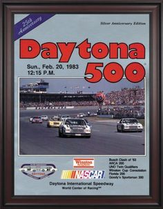 "NASCAR Framed 36"" x 48"" Daytona 500 Program Print Race Year: 25th Annual - 1983 by Mounted Memories. $363.99. NC14251983 Race Year: 25th Annual - 1983 Features: -Original cover art from that day's race program. -Vibrant colors restored, alive and well. -Classic brown finished wood frame, unmatted. -Officially licensed by NASCAR. -36"" W; x 48"" H; canvas print. -Overall dimensions 52 1/4 H"" x 40"" W. -Made in the USA."
