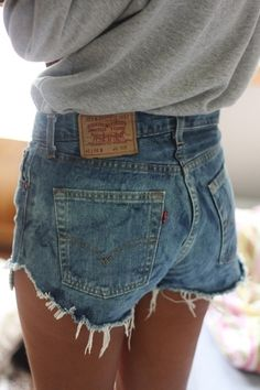 buy a pair of old jeans thrifting and do this to them jean shorts, denim jeans, high waisted shorts, outfit, levi, mom jeans, denim shorts, summer shorts, old jeans