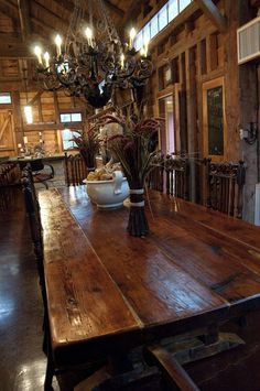 Dining table top made from reclaimed barn floor boards. (LOVE THIS!)