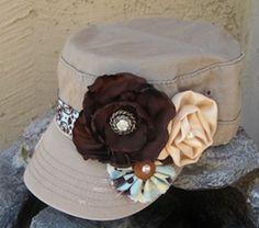 hats, cadet militari, crafti stuff, armi hat, roses, craft idea, raggedi rose, rose etsi, military
