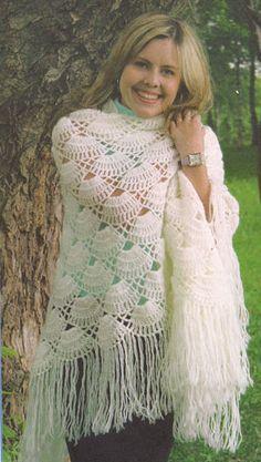 Branco xale. Crochet.