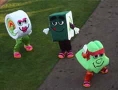 Ms. BC Roll, Mr. Kappa Maki and Chef Wasabi from the Vancouver Canadians