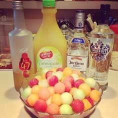 Drunken Melon Balls Watermelon Cantaloupe Honeydew melon Vodka Pineapple Juice Peach Schnapps Tequila (opt) Use a melon ball scoop to fill your bowl with melon balls. Pour your liquor and juice over the balls and refrigerate. Great ideas for the summer!!