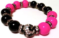 Shamballa Stretch Bracelet with Black and by IKANDiiAccessories, $20.00