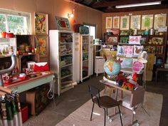 """A """"Garage Gallery"""" weekend pop-up shop. One person's handmade goods and vintage collection beautifully displayed!"""