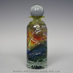 Isle of Wight Studio Glass trailed bottle, designed by Michael Harris