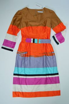 NWT-Marimekko-Guassi-Striped-Multicolor-Bright-Belted-Dress-32-XS-398