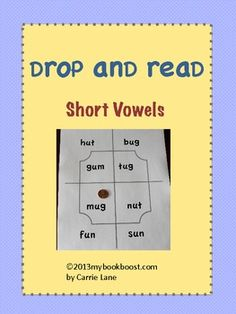 Drop and Read game for practicing short vowels (drop a coin or other object onto the game board and read the word) classroom, child short, games, coins, fun game, cvc, shorts, game boards, short vowel