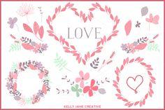 Valentine Wreaths & Flowers Vector by Kelly Jane Creative on Creative Market