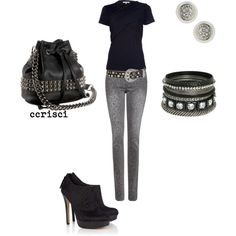 rocker chic, created by ccrisci on Polyvore - Love this so want the pants.
