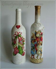 Botellas navideñas decoupage